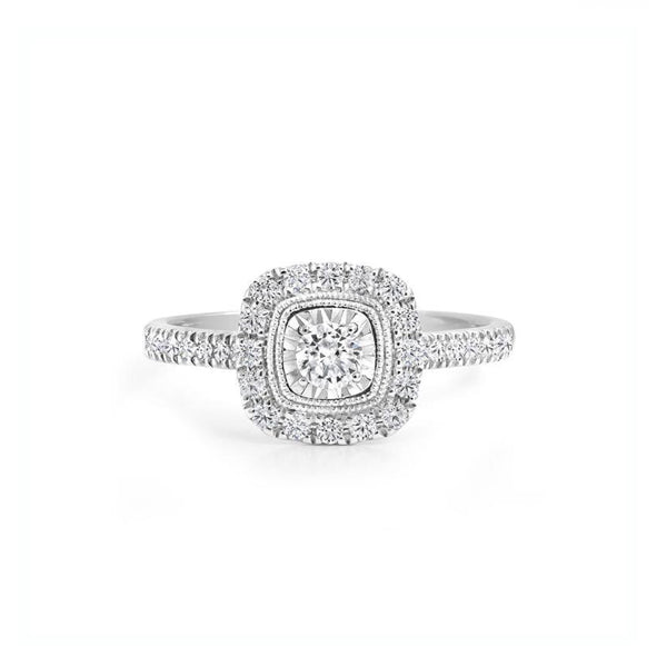 Diamond 'Canadian Rocks' Square Halo Engagement Ring (33308)