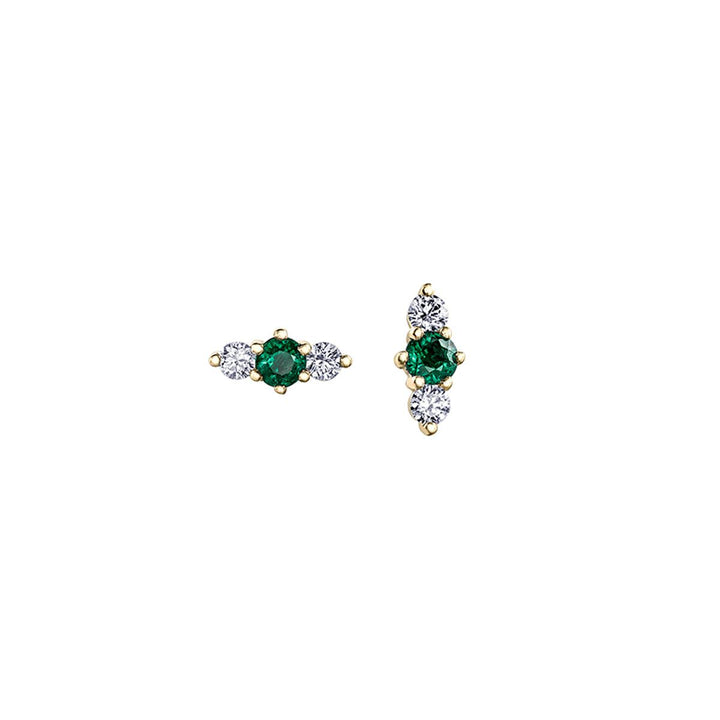 Canadian Maple Leaf Diamond and Emerald Earrings