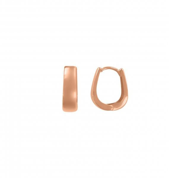 Gold Huggie Oval Hoop Earrings 5.5mmx14.7mm