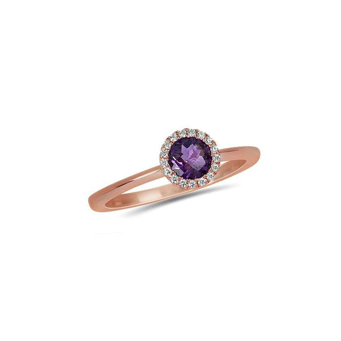 Genuine Amethyst and Diamond Halo Ring