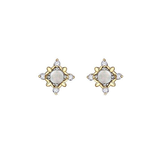 Genuine Opal and Diamond Earrings