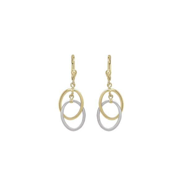 Gold Double Open Oval Dangle Earrings (34739)