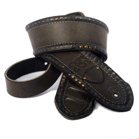 The Standard Guitar Strap Distressed with Studs - Distressed Black - Volume & Tone - Guitar Straps & Leather Goods