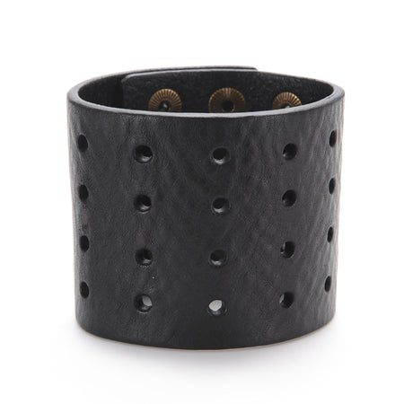 "The ""11"" Cuff with Perforation ,Leather Cuffs- Volume&Tone Guitar Straps & Leather Goods"