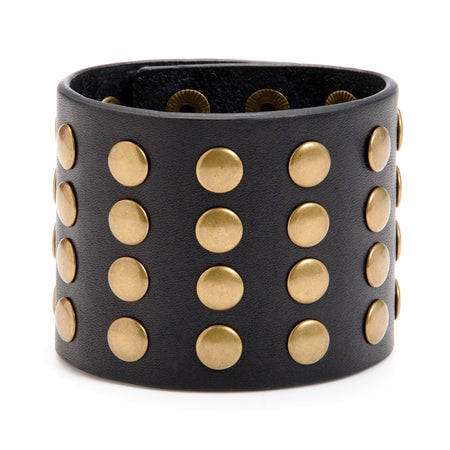 "The ""11"" Cuff with Studs ,Leather Cuffs- Volume&Tone Guitar Straps & Leather Goods"
