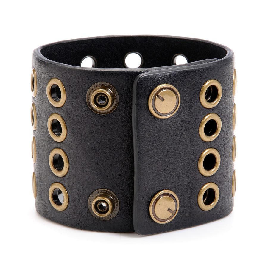 "The ""11"" Cuff with Grommets ,Leather Cuffs- Volume&Tone Guitar Straps & Leather Goods"