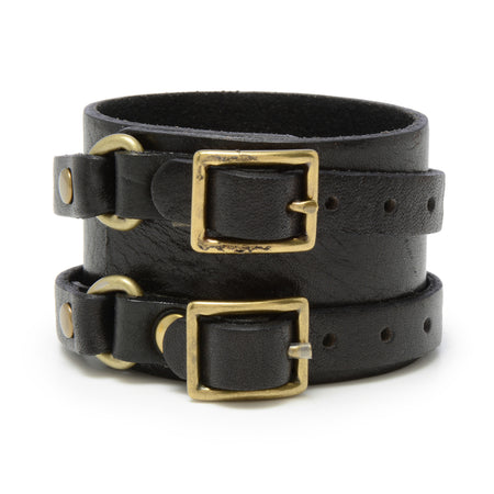Double Buckle Cuff ,Leather Cuffs- Volume&Tone Guitar Straps & Leather Goods