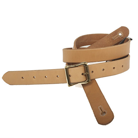 "The Guthrie 1"" Wide Guitar Strap in Natural Bridle Leather - Volume&Tone Guitar Straps & Leather Goods"
