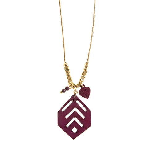 Mod Plum Wood Necklace