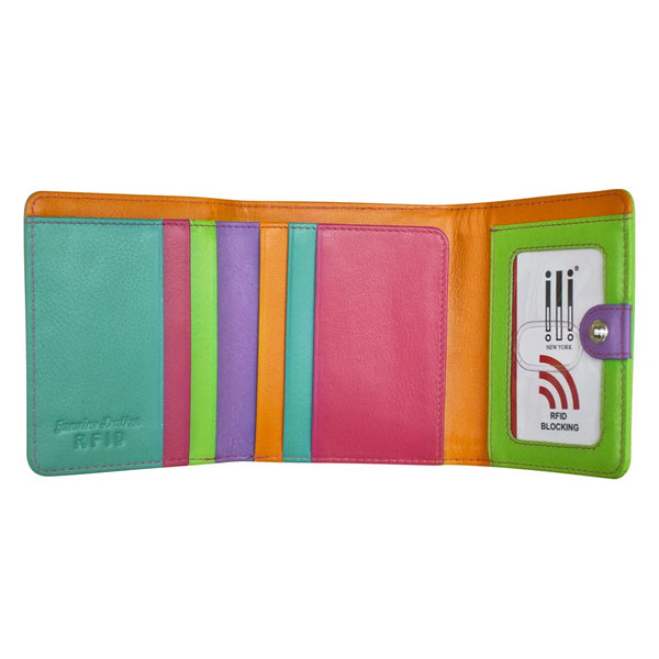Color Block Tri-fold Mini Wallet