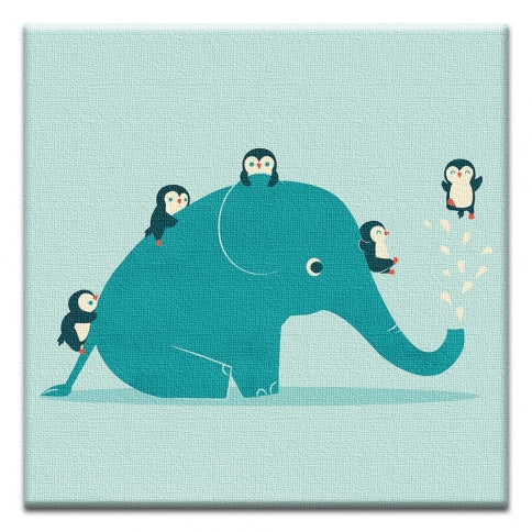 Elephant and Friends Birthday Canvas Art Card