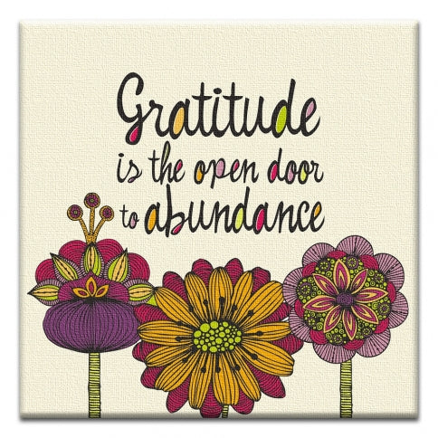 Gratitude Is The Open Door Thank You Canvas Art Card