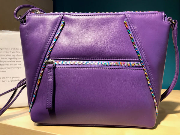Purple Leather Crossbody Bag with Rainbow Zippers
