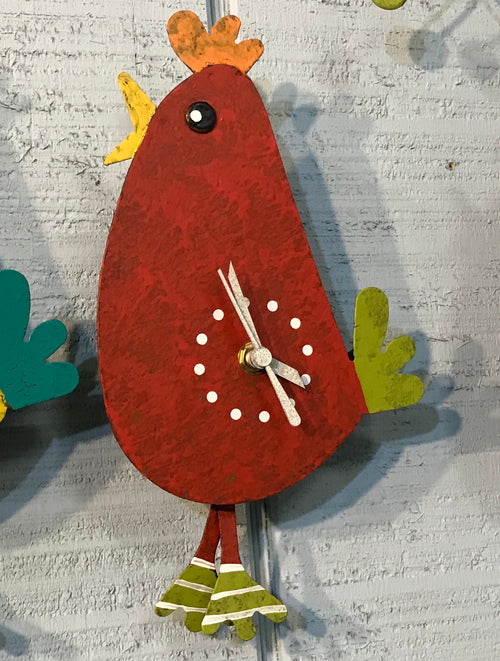 Red Walking Chicken Wall Clock