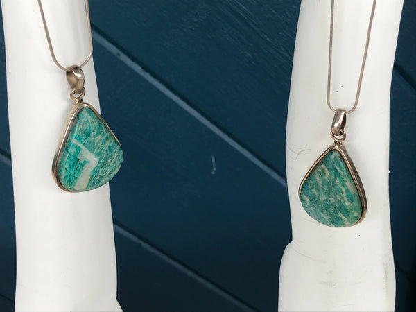 Large Amazonite Teardrop Sterling Silver Pendant Necklace