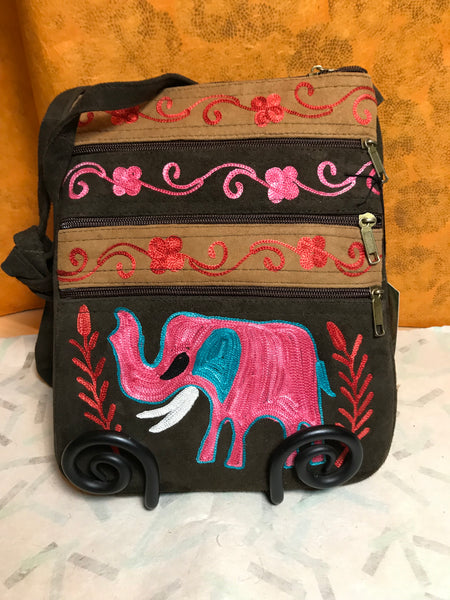 Suede Elephant Crossbody Bag