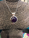 Mod Round Amethyst Sterling Silver Pendant Necklace