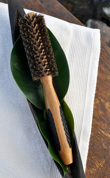 Small Round Boar Bristle Styling Brush with Bamboo Handle