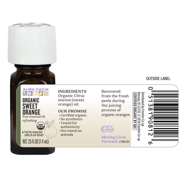Organic Sweet Orange Essential Oil 0.25 fl. oz.