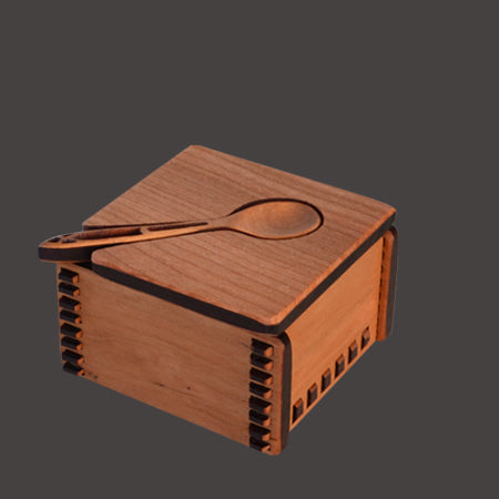 Sustainable Cherry Wood Salt Box with Grapevine Spoon