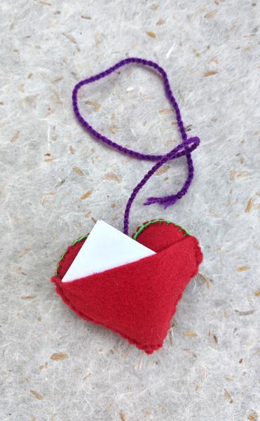 Fair Trade Handmade Embroidered Heart Ornaments with Message Pouch