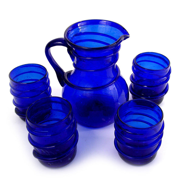 Blue Recycled Glass Pitcher