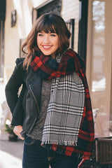 Reversible Plaid Blanket Scarf