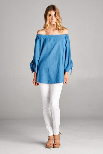 Heather Off The Shoulder Top (Chambray)