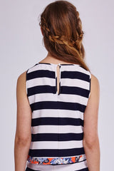 Stripe Floral Trim Top
