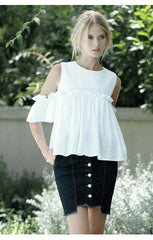 Layered Ruffled Cold Shoulder Top