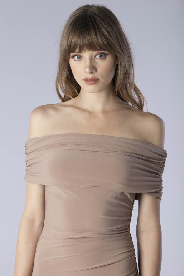 Shirring Off The Shoulder Dress