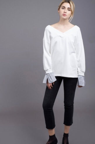 Off the shoulder contrast sleeve