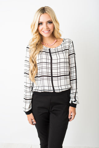 White Chiffon Plaid Top