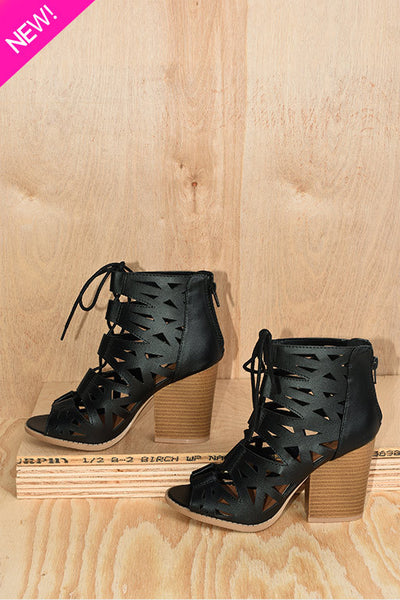 Black cutout chunky heel ankle boot