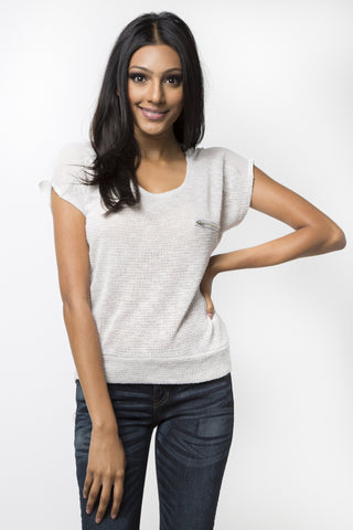 Open Knit Zipper Pocket Top