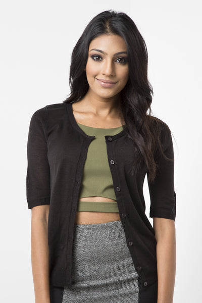 Black Basic Short Sleeve Cardigan