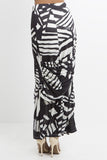 Savannah Print Draped Maxi Skirt