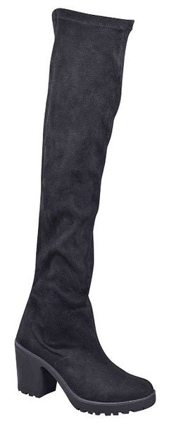 Pull over knee boot Black