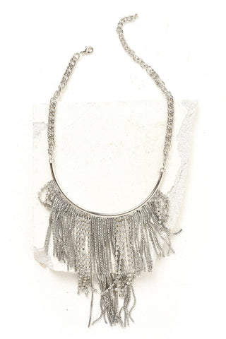 Silver fringe metal chain necklace