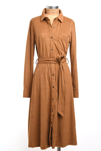 Vintage inspired faux suede dress