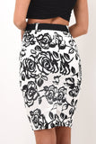 Black and white monet pencil skirt
