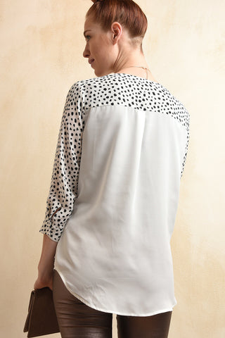 Dalmatian Dot Button Up Blouse