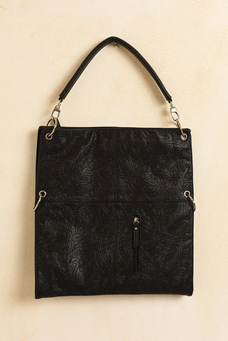 Black embossed vegan square purse