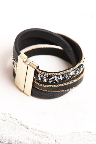 Black and gold wrap bracelet