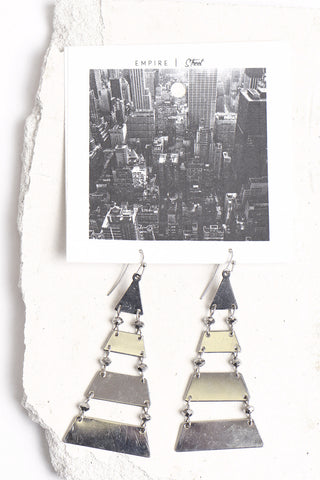 Empire Street triangle step earrings