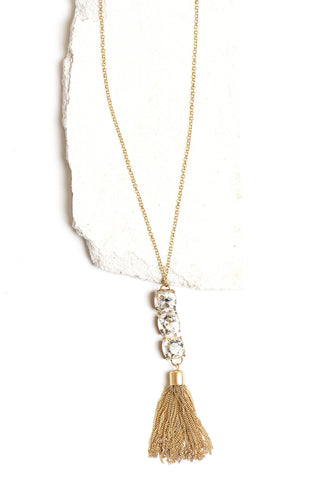 Long gold triple bling tassel necklace