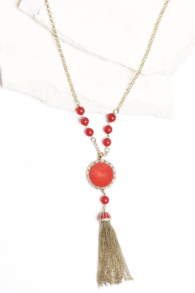 Red and gold tassel necklace