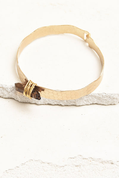 Gold and amber crystal bracelet