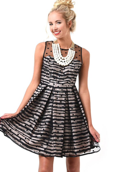Classic taupe and black polka dot stripe dress