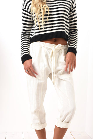 White beach drawstring pants